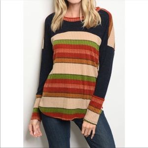 Tops - COLOR BLOCK STRIPED PANEL TOP